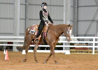 Gk skip n hancock  ridden by shannyn pengally in western horsemanship