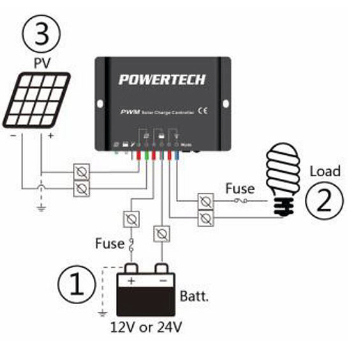 Details about Powertech 12/24V 20A PWM Solar Charge Controller with Timer  Function IP67
