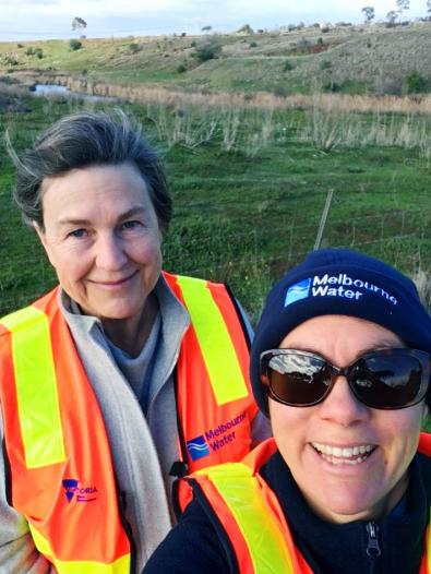 Kathy Preece (left) and Sara Johnson (right) inspecting a future Growling Grass Frog Conservation Area.