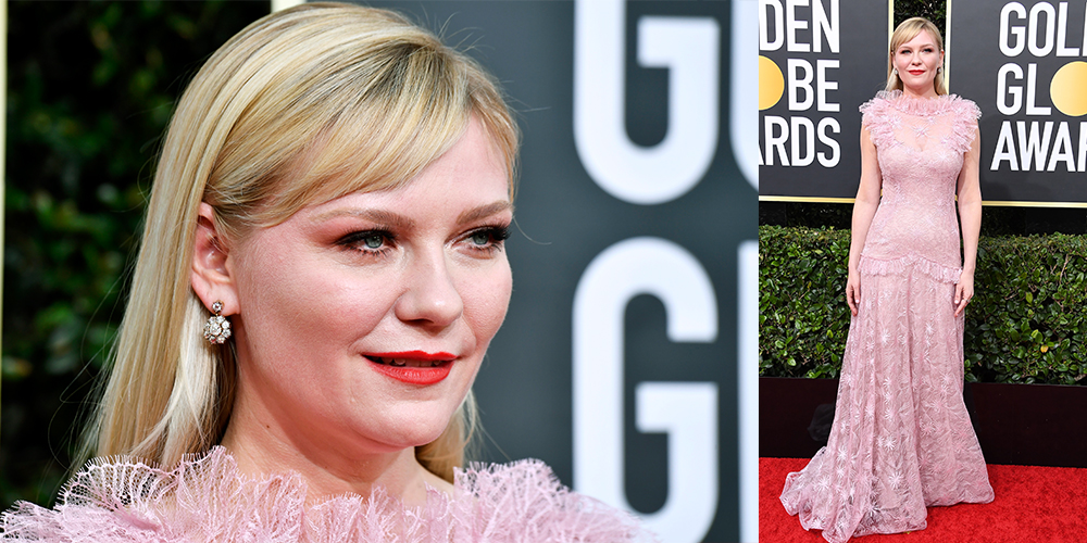 kirsten dunst pink dress golden globes