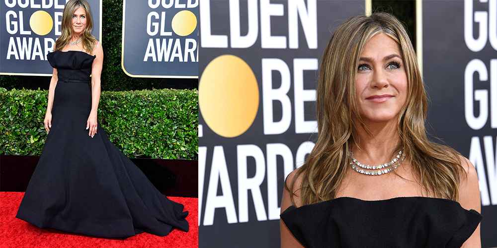 jennifer aniston black dress golden globes