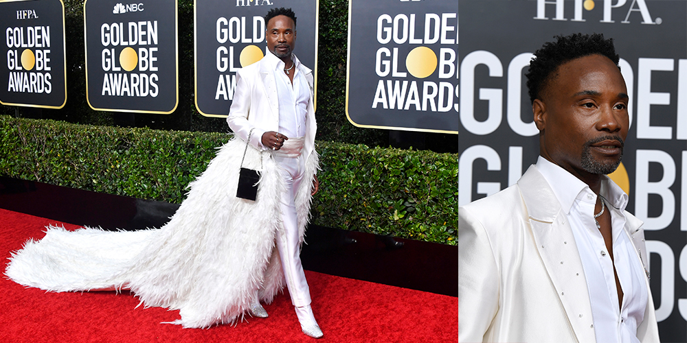 billy porter white cape feathers golden globes