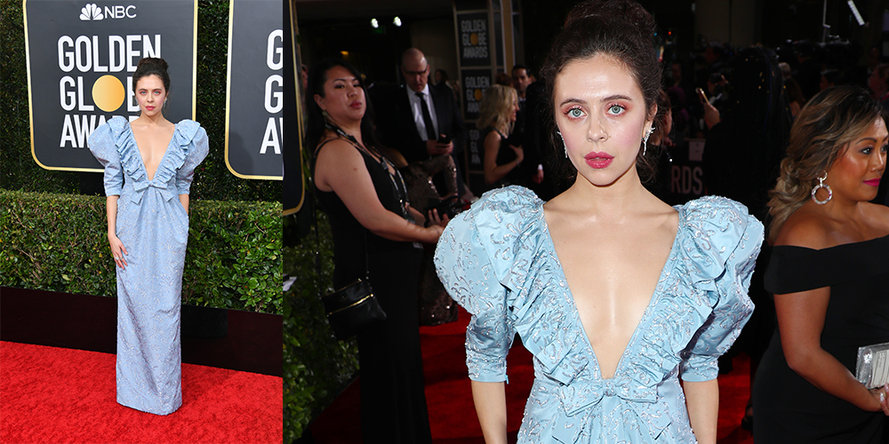 bel powley blue dress golden globes