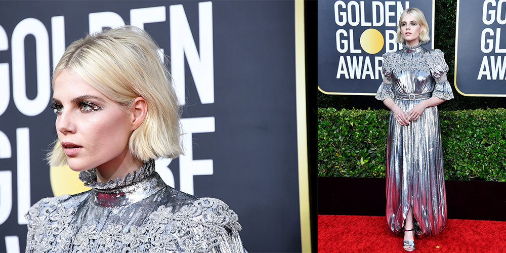 lucy boynton wearing silver dress golden globes