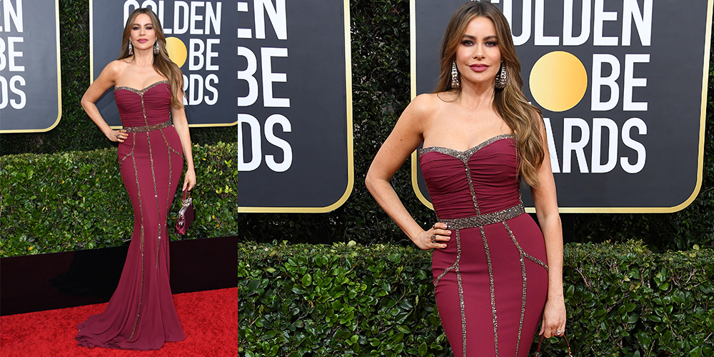 sophia vergara in a burgundy dress golden globes