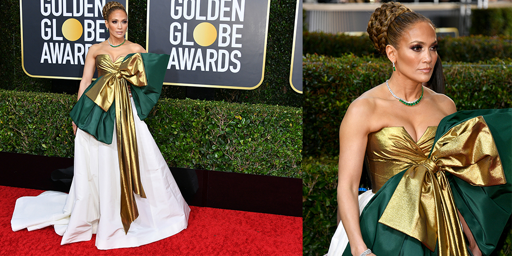 Jennifer Lopex bow dress golden globes