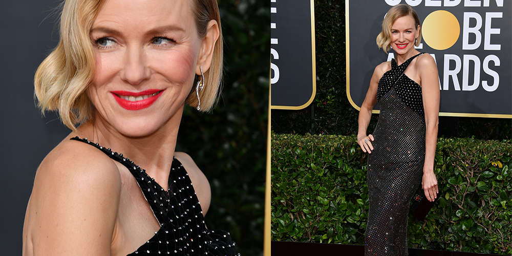 Naomi Watts black dress golden globes