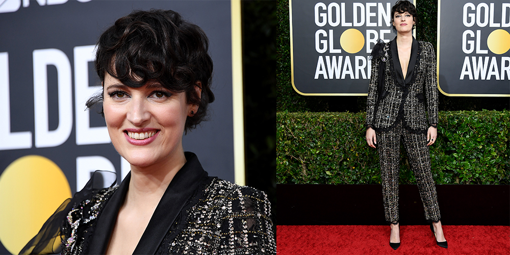 Phoebe Waller-Bridge suit golden globes