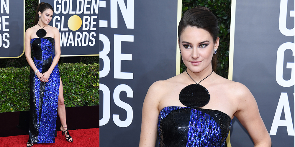 Shailene Woodley purple black dress golden globes