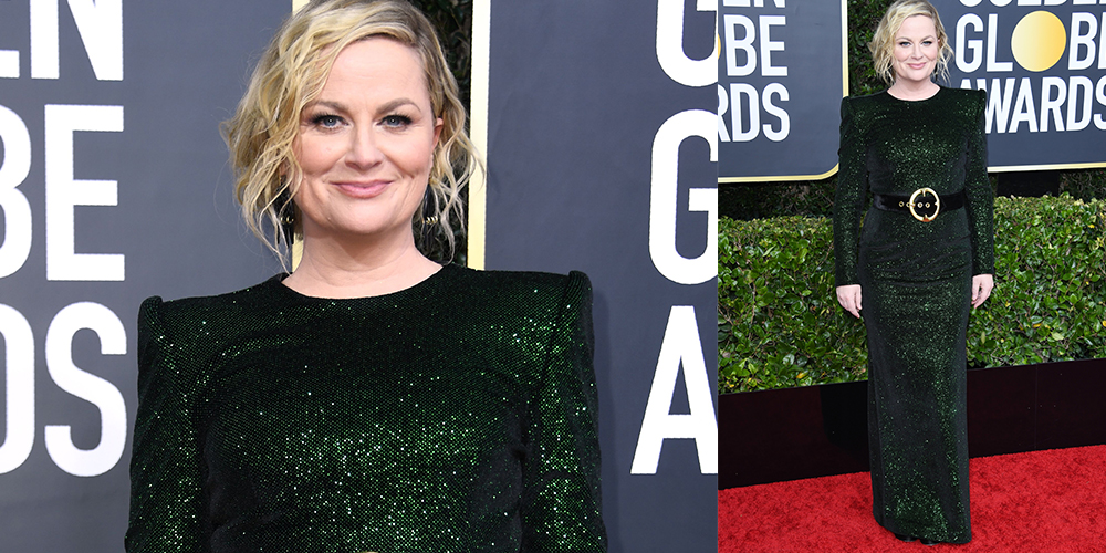 Amy Poehler green dress golden globes