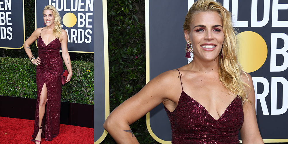 busy philipps red dress golden globes