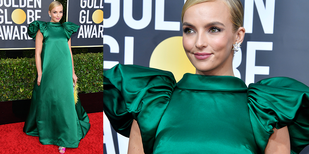 Jodie Comer green dress golden globes