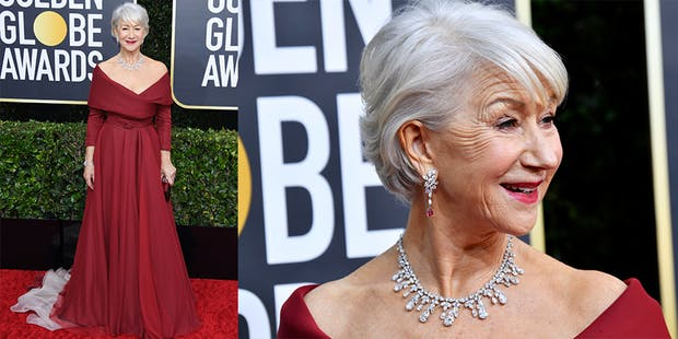 helen mirren red dress golden globes