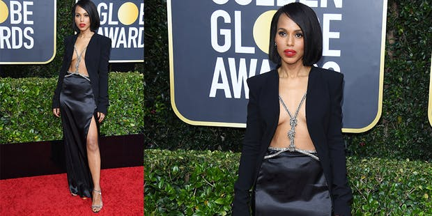 kerry washington topless dress golden globes