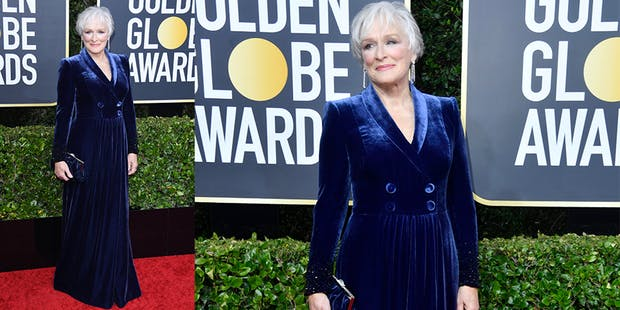 Glenn Close blue dress golden globes
