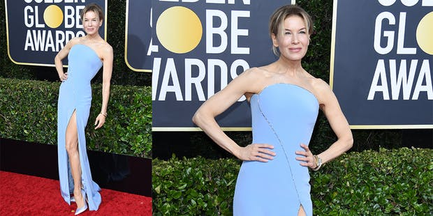 Renee Zellweger blue dress golden globes
