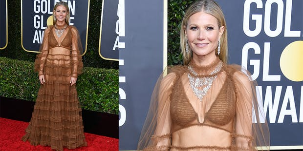 Gwyneth Paltrow brown dress golden globes