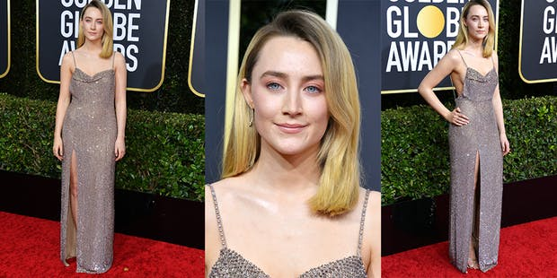 Saoirse Ronan silver dress golden globes