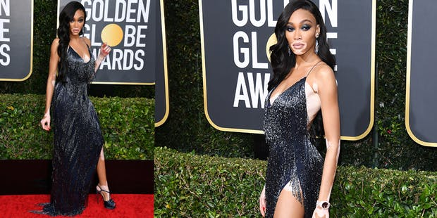 Winnie Harlow black dress golden globes