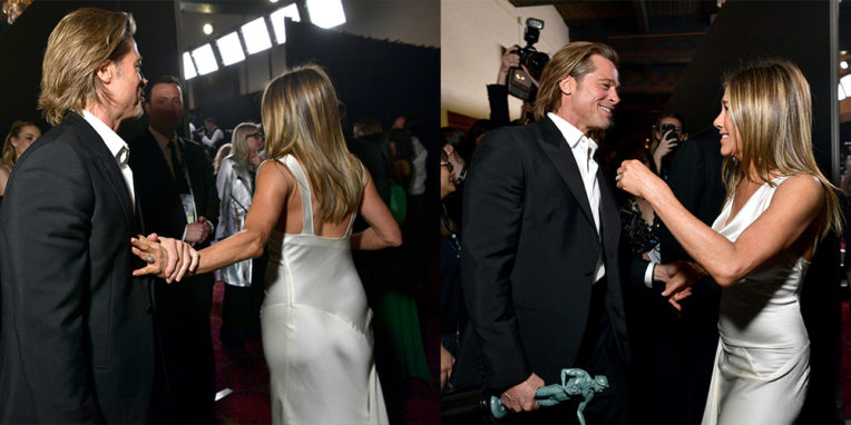 Brad Pitt and Jennifer Aniston spark reconciliation rumours backstage at the SAG Awards