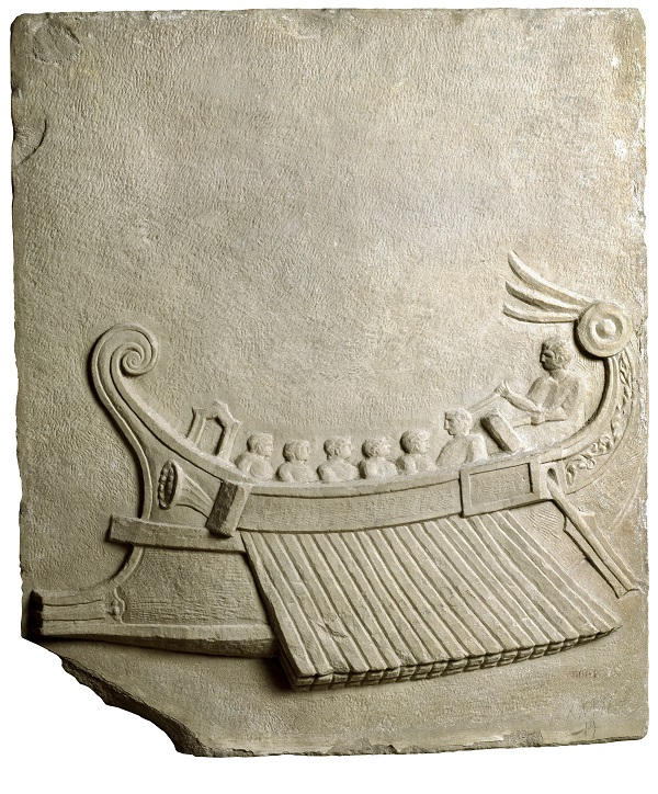 Roman art of a warship, marble relief from Puteoli (Pozzuoli), 1st century AD.