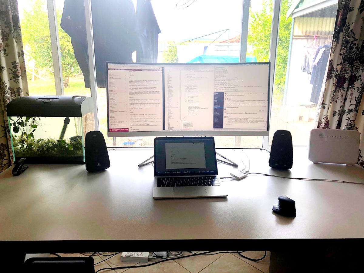 Working remotely with lots of natural light and fish tank