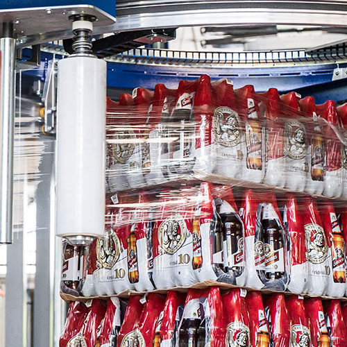 Stretch Wrapping Pallets of Beverages