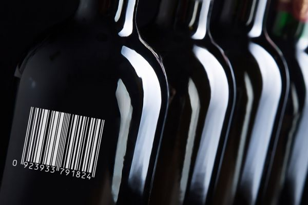 Barcode on wine bottle