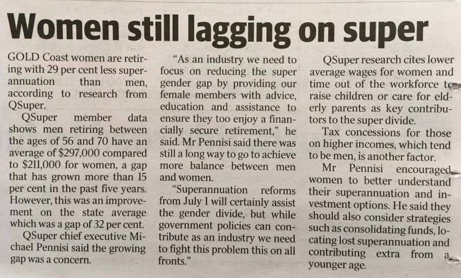 WOMEN ARE STILL LAGGING ON SUPERANNUATION