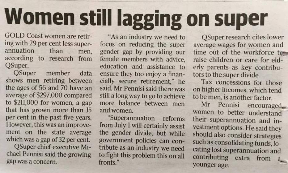 WOMEN ARE STILL LAGGING ON SUPERANNUATION