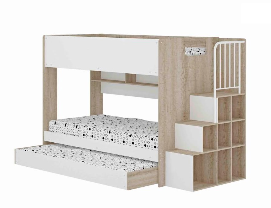 Alexis Trio Single Bunk with Stairscase, Storage, Shelves and Trundle