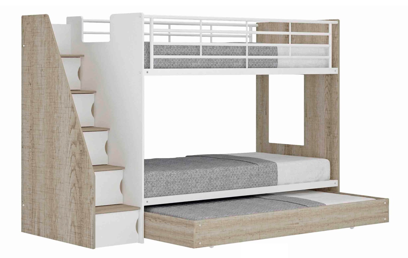 Ashton Trio Single Bunk with Stairs, Cabinets & Trundle