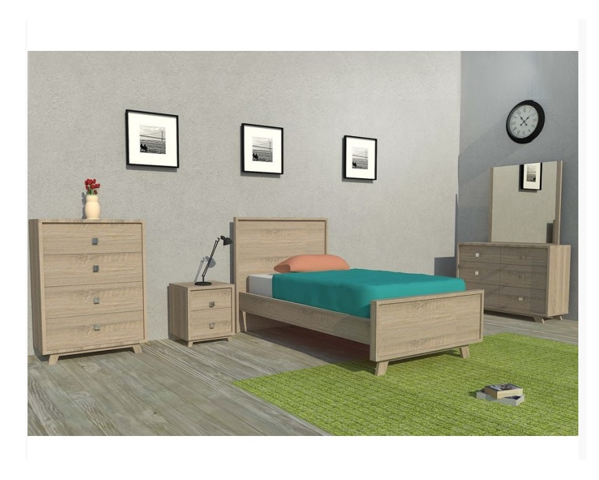 Bendigo Bed Frame (King-single) Oak