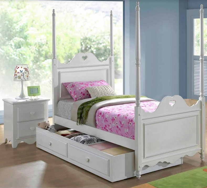 Heart single bed with 4 poles with 2 in 1 trundle storage for Youth furniture