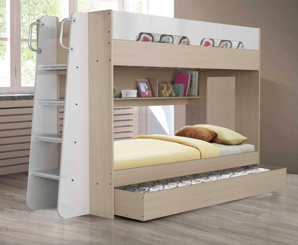 Melbourne Trio Single Bunk with Ladder to one Side & Shelves Unit to other bunk End (Trundle Included)