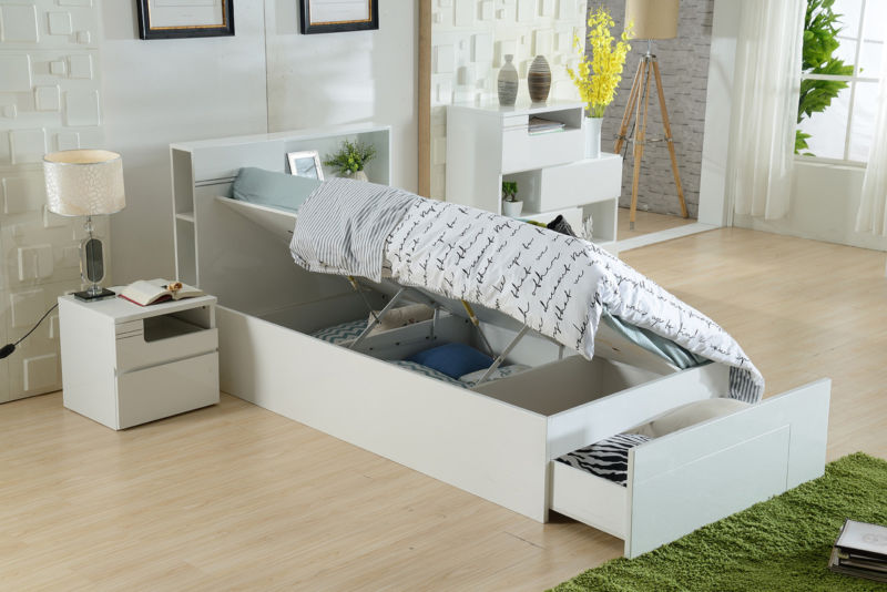 Seattle Gaslift Bed - King Single (White or Chocolate)