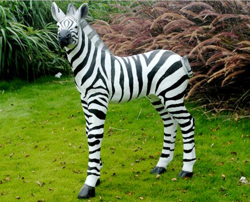 113cm Standing Zebra Statue - Fiberclay