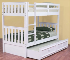 Jester Bunk Bed with Trundle - White (Single)