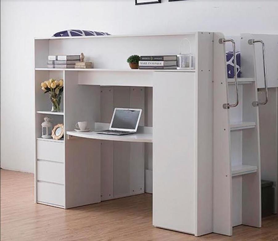 Knox Bunk with Study Desk & Storage - single or King single (White)