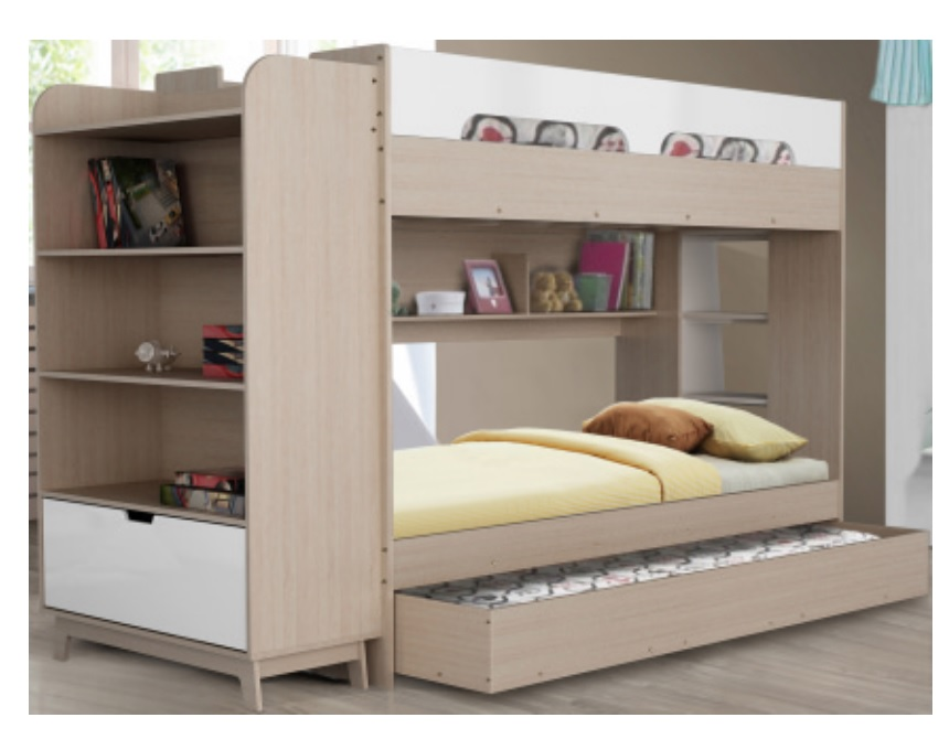 Melbourne Trio Single Bunk with Ladder To one Side and Shelves Unit to the Other Bunk End (Trundle Included)