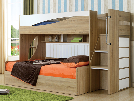 Olive Bunk - Single or Double Gaslift Bunk, Staircase with Tallboy$1690