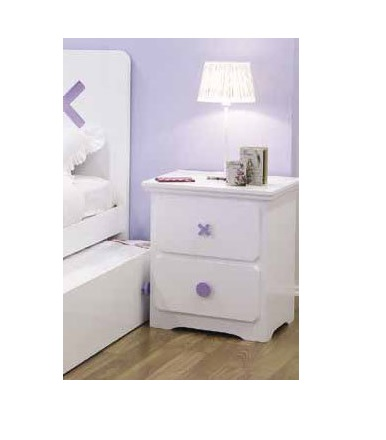 Tic-Tac-Toe 2 Drawer Bedside Table - (Snow, Blue or Purple)
