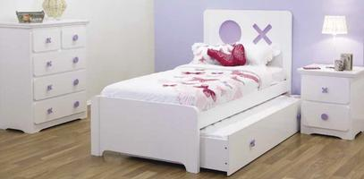 Tic Tac Toe Bed with Trundle - Purple & White (Single)