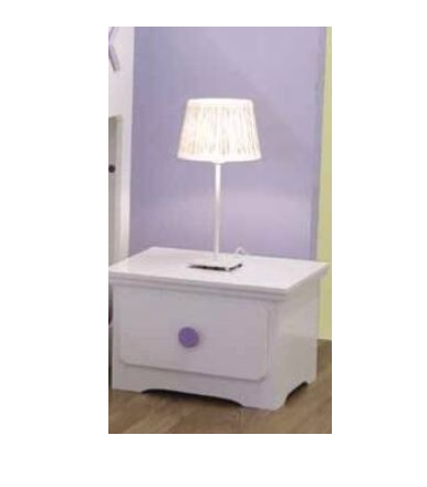 Tic-Tac-Toe 1 Drawer Bedside Table (Blue or Purple Knobs)