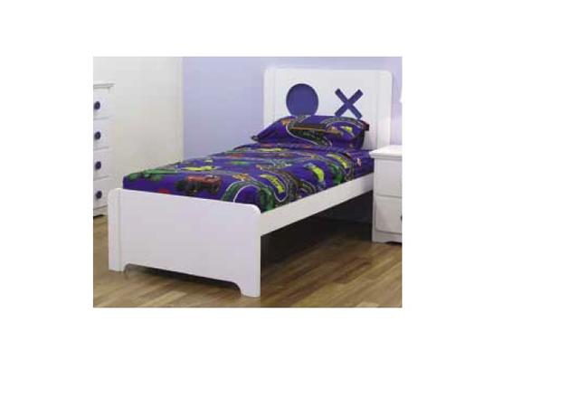 Tic Tac Toe Bed Frame - Blue & White (Single)