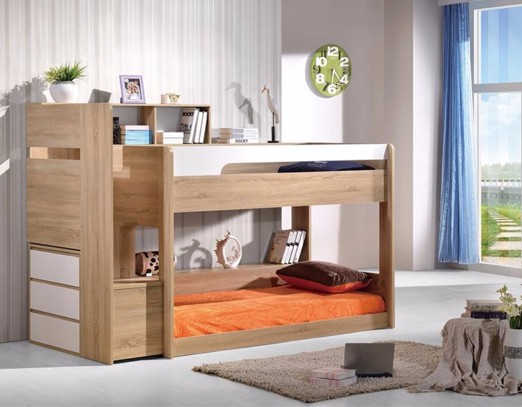 Zegna Bunk & Tallboy($1299 ) to Side - (Light Oak & White) Single