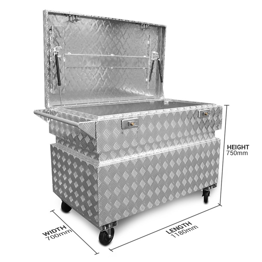 Boxo SITEBOX 3mm 1180 x 700 x 750mm Aluminium Site Box on Wheel