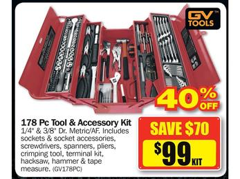 $99 GV Tools 178 Pc Tool & Accessory Kit