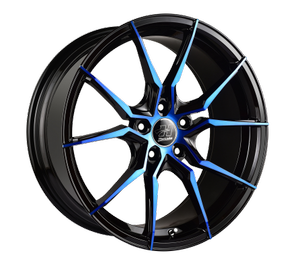 HUSSLA 673 SPIDER 16x7 BLACK / CANDY BLUE FACE WHEEL & TYRE PACKAGE SPECIAL