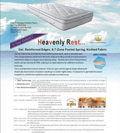 Heavenly Rest Gel Mattress - King single